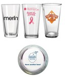 Custom Printed Glass Bottom Imprint Pint Glasses!