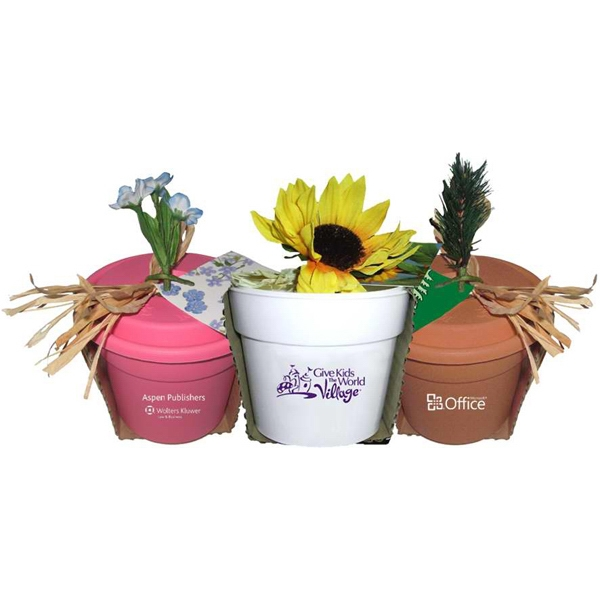 "Custom Imprinted 4"" Flower Pots"