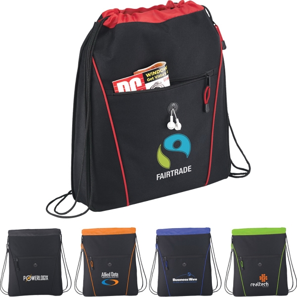 Customized 1 Day Service Pull Strap Closure Drawstring Backpacks!