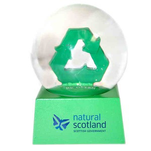Stock Snow Globes - Recycle Symbol Shaped Stock Snow Globes