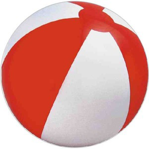 Custom Imprinted Red and White Alternating Color Beach Balls