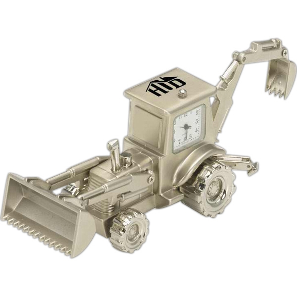 Personalized Backhoe Shaped Silver Metal Clocks