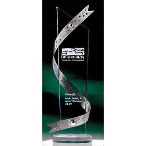 Custom Imprinted Silver Ribbon Stainless Crystal Awards