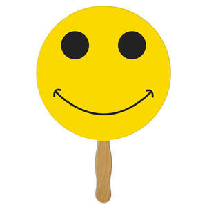 Stock Shaped Paper Fans - Smiley Face Stock Shaped Paper Fans