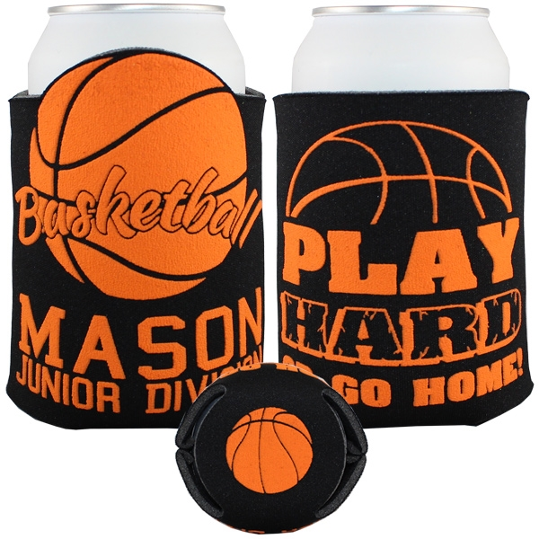 Custom Imprinted Basketball Sport Theme Can Coolers!