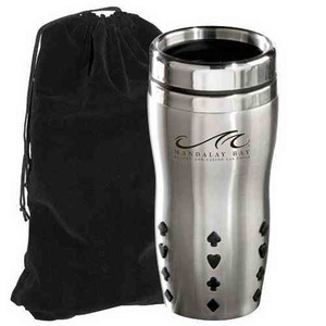 Personalized Stainless Steel Ridged Mug and Velvet Gift Bag Sets!