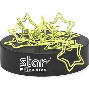 Custom Imprinted Star Bent Shaped Paperclips with Magnetic Bases