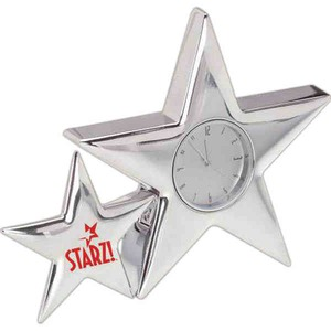 Custom Imprinted Star Shaped Silver Metal Clocks