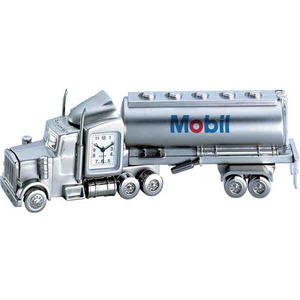 Custom Decorated Tanker Truck Shaped Silver Metal Clocks