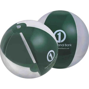 Alternating Color Beach Balls - Translucent Forest Green and Clear Alternating Color Beach Balls