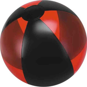 Alternating Color Beach Balls - Translucent Red and Black Alternating Color Beach Balls