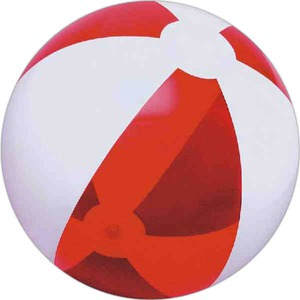 Alternating Color Beach Balls - Translucent Red and White Alternating Color Beach Balls