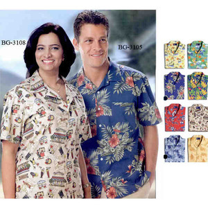 Custom Imprinted Tropical Hibiscus Camp Shirts Tropical