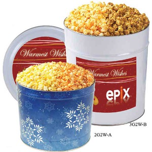 Filled Gift Tins - Two Flavor Popcorn Tins