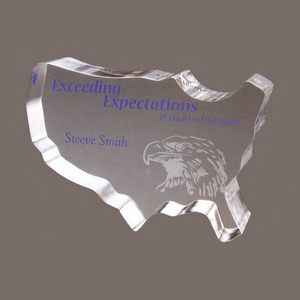 Custom Imprinted USA Shaped Paperweight Crystal Gifts