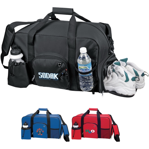 Custom Decorated 1 Day Service Duffel Bags with Bottles!