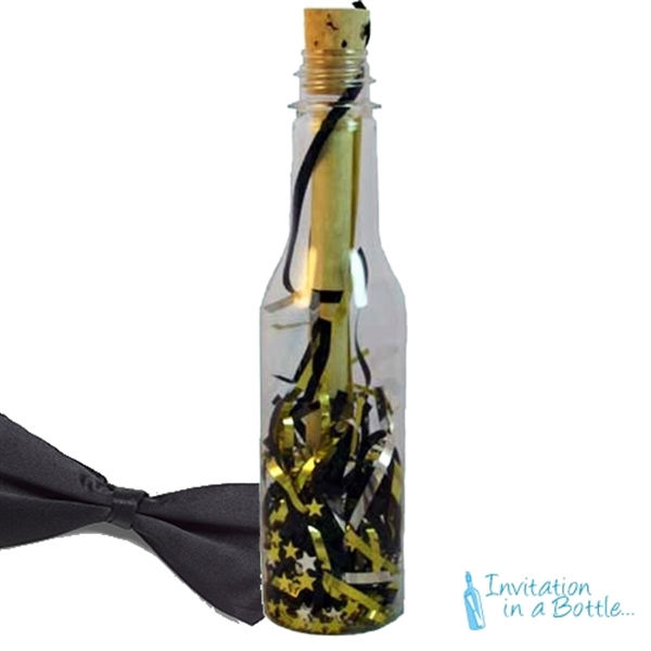 Custom Imprinted Black Tie Message in a Bottles!