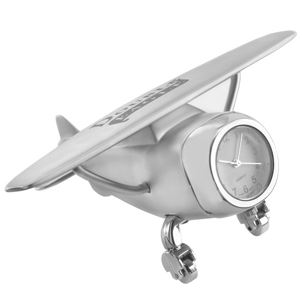 Custom Printed Airplane Shaped Silver Metal Clocks!